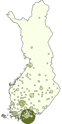 Visitor demographics: geographical distribution in Finland