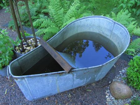 Kuvassa on vanha kylpyamme, joka toimii sadevesisäiliönä